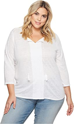Plus Size Linen Lace Trim Henley