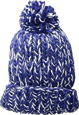 KNH3590 Chunky Marled Knit Beanie with Pom