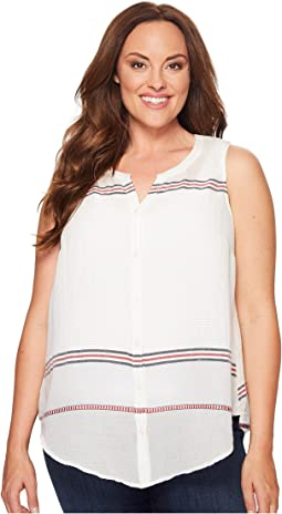 Lucky Brand Plus Size Stripe Tie Front Top