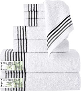 Classic Turkish Towels 8 Piece Luxury Bamboo Cotton Fiber Towel Set - Silky Soft Natural Hypoallergenic Bath Towels (White)