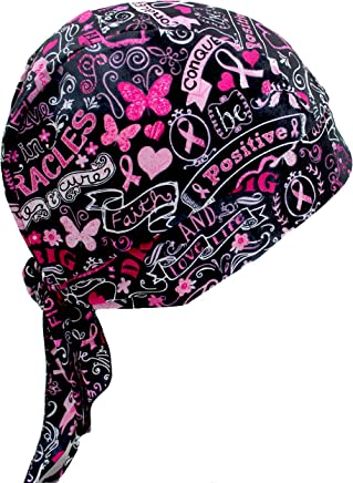 10fedabfd40b Hiphopville Pink Ribbon Breast Cancer Awareness Support Hearts Skull Cap  Headwrap with Tie