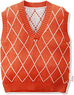 Boy Plaid Sweater Vest Loose Double Front (Color : Orange, Size : 100cm)