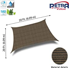 Petra's 20 Ft. X 20 Ft. Square Sun Sail Shade. Durable Woven Outdoor Patio Fabric w/Up to 90% UV Protection. 20x20 Foot. (Brown)