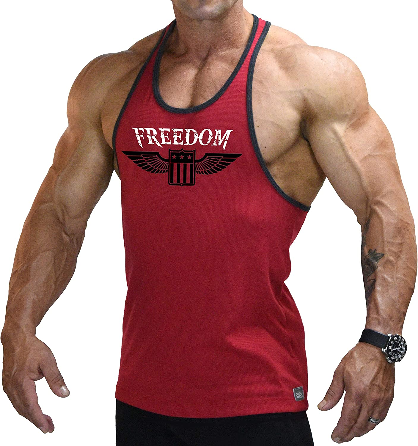 Stringer Fitted Ranking TOP15 Tank Top in Red Great interest and Freedom Desi Black with Trim