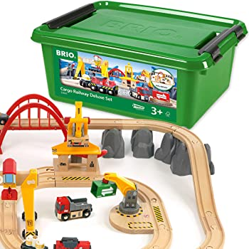 BRIO 33097 Cargo Railway Deluxe Set | 54 Piece Train Toy with Accessories and Wooden Tracks for Kids Age 3 and Up,Multi
