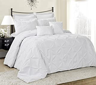 8 Piece Lucilla Small Elastic Embroidery Comforter Sets- (Cal.King, White)