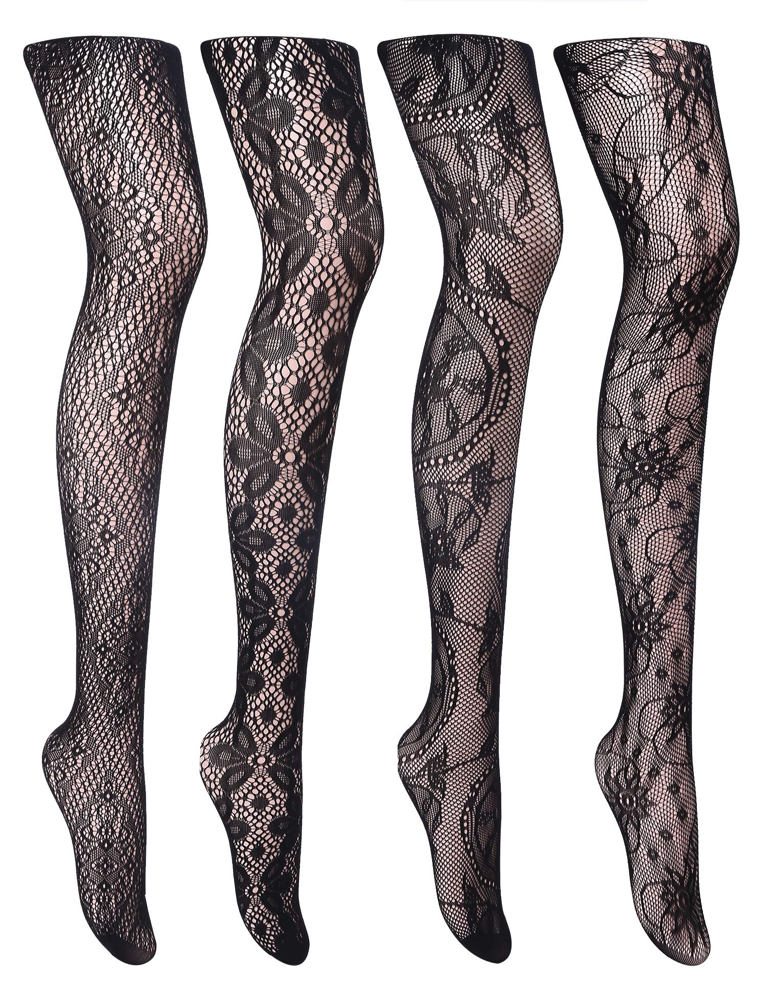 Girls Mesh Fishnet Lace Stocking Legging Tight Musical Notes Pattern Black White