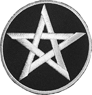 Pentacle Sign Sew on Iron on Applique Embroidered Emblem Badge Patch By Ranger Return - Black (IRON-WICCA-BKWH)