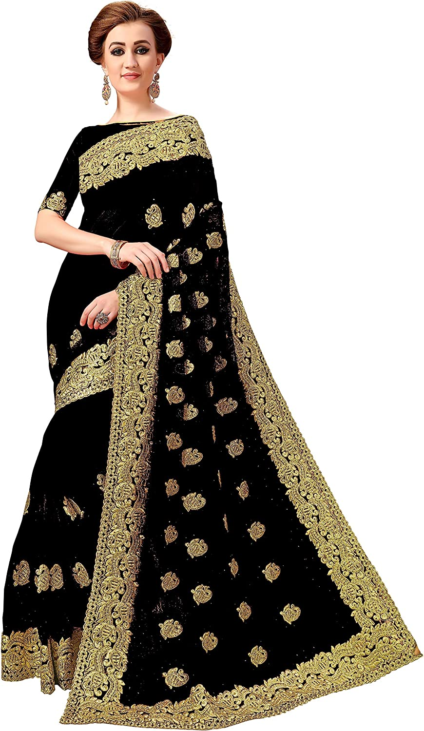 Nivah Fashion Women's Net Embroidery work With Diamond's material Saree K796