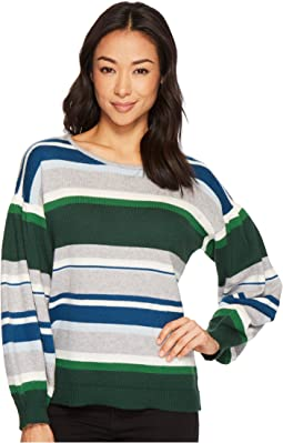 CeCe - Jersey Stripe Balloon Sleeve Striped Sweater