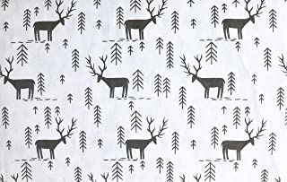 Well Dressed Home 3 Piece Turkish Cotton Flannel Twin Size Single Bed Sheet Set Charcoal Gray Nordic Pattern Deer Antlers Pine Trees on White