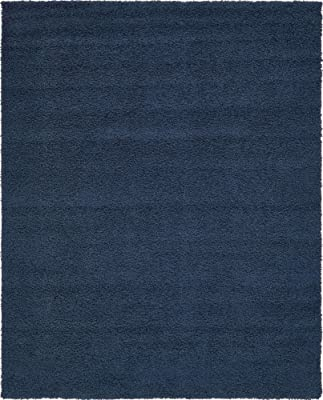 Amazon Com Unique Loom Solo Solid Shag Collection Modern Plush Navy Blue Area Rug 8 0 X 10 0 Furniture Decor