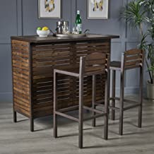 Christopher Knight Home Lorelei Indoor Dark Brown Acacia Bar Set with Rustic Metal Finish Accents