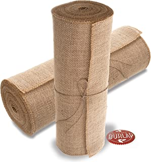 Burlap Table Runner - 14 Inch Wide X 10 Yards Long Burlap Roll - Burlap Fabric Rolls. A No-Fray Burlap Runner with Overloc...