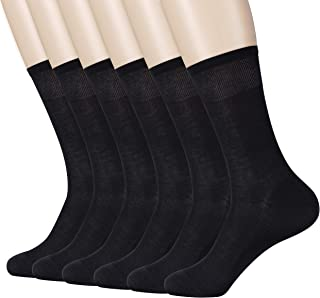 Pourvert Breathable Cotton Socks for Men Women, Moisture Wicking Business Dress Socks, 6 Pairs