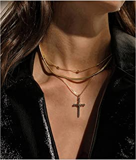 Cross Pendant Necklace 14K Gold Plated Station Snake Box Chain Christmas Gold Pendant Layered Sweater Necklace Women
