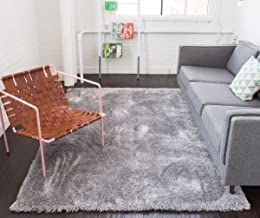 Shimmer Shag Silver Grey Solid Modern Luster Ultra Thick Soft Plush Plain Area Rug 5 x 7 ( 5'3