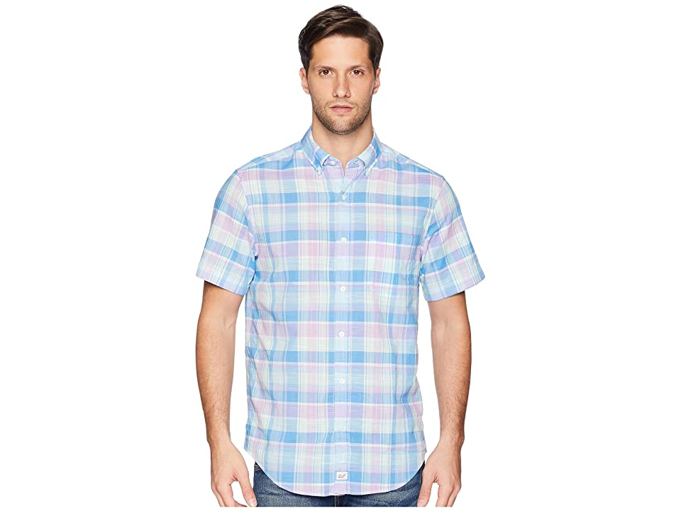 Vineyard Vines Lagoon Pond Plaid Short Sleeve Classic Murray Shirt (Sea Urchin) Men