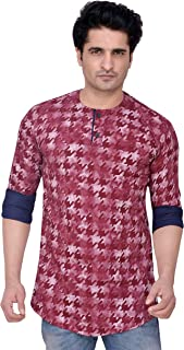 PP Shirts Men Maroon Coloured Casual Short Kurta