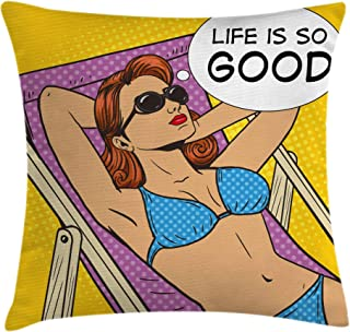 Ambesonne Retro Throw Pillow Cushion Cover by, Pop Art Sunbathing Woman with Life is So Good Quote on Beach Motivational Comic Image, Decorative Square Accent Pillow Case, 24 X 24 Inches, Multicolor