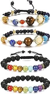 4 Pcs Bead Bracelets Women Men Solar System & Chakra Stone Diffuser Bracelets Set Aromatherapy Yoga Bracelet 8MM Beaded