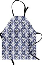 Lunarable Abstract Apron, Geometric Knitwear Pattern Textile Inspired Nordic Artisan Image Print, Unisex Kitchen Bib Apron with Adjustable Neck for Cooking Baking Gardening, Violet Blue White