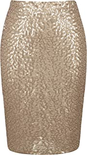 PrettyGuide Women's Sequin Skirt High Waist Sparkle Pencil Skirt Party Cocktail