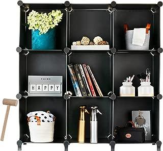Homeries Cube Storage System (9 Cubes) – Modular DIY 9-Cube Plastic Closet Organizer Rack, Storage Shelves, Bookshelf, Bookcase for Bedroom, Office, Dorm Room, College, Living Room - Black