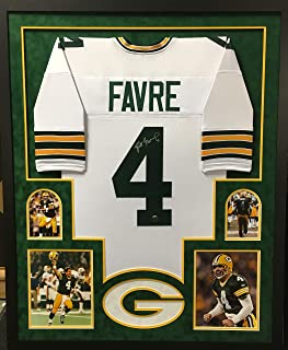 Brett Favre Green Bay Packers Autograph Signed Custom Framed Jersey Suede Matted White Favre Authentic Certified