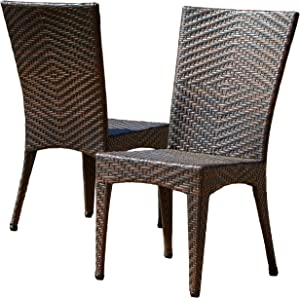Christopher Knight Home 232459 Solana Outdoor Brown Wicker Chairs (Set of 2)