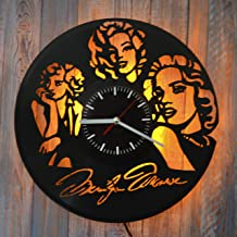 Art Finder Marilyn Monroe Gift Yellow Led Light Vinyl Record Wall Clock - Get Unique Bedroom or livingroom Wall Decor - Gift Ideas for Boys and Girls Perfect Element of The Interior Unique Art
