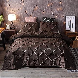 JXING Parure de lit pour femme avec plis, housse de couette romantique, 3 dimensions, plis avec fermeture éclair, douce et...