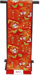 袋帯 単品 七五三 十三参りに 全通柄の袋帯 合繊「赤 絵巻物と蝶」KFP218