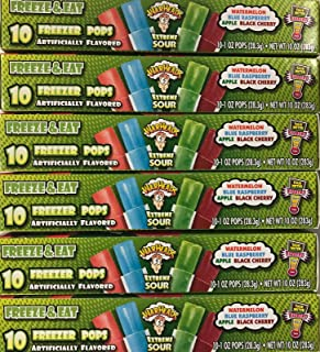 Warheads Extreme Sour Freezer Pops Freeze and Eat ((60) 1oz Bars)