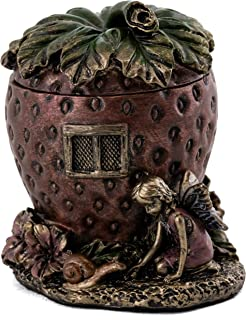Top Collection Strawberry Jewelry House Holder - Cute Fairy Accessory Trinket Box in Premium Cold Cast Bronze - 2.5-Inch C...