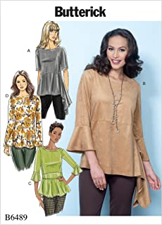 Butterick Patterns B6489ZZ0 Misses' Pullover Tops with Sleeve and Peplum Variations Sewing Pattern, ZZ (LRG-XLG-XXL)