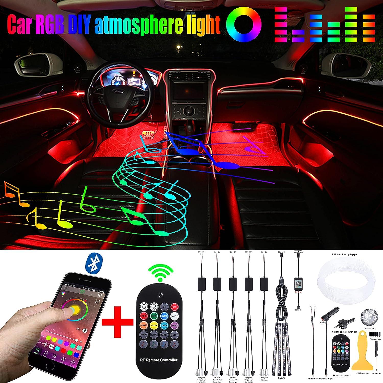 QAUBEN Seattle Mall 64 Price reduction Colors Car Ambient Lighting RF Remot Optic Fiber Cable