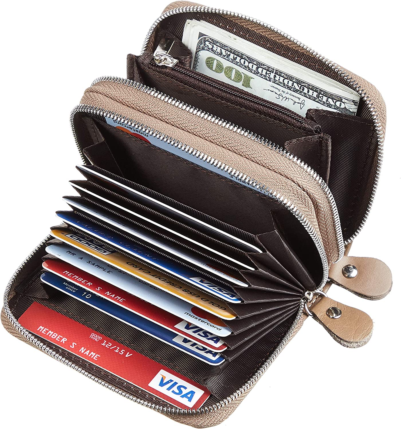 Wek Khaki One Size Gostwo Genuine Leather Credit Card Holder with Zipper Womens Card Case RFID Blocking with Zip Around Wallet