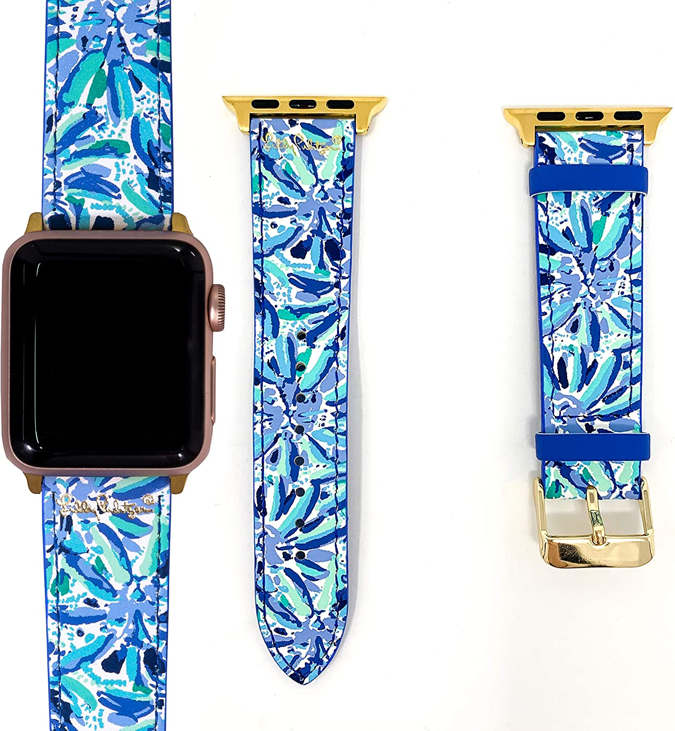 Lilly Pulitzer Genuine Leather Watch Band Sized to Fit 38mm & 40mm Smartwatches Compatible with Apple Watch Series 1-6