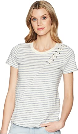 Lucky Brand Stripe Lace-Up Shoulder Tee