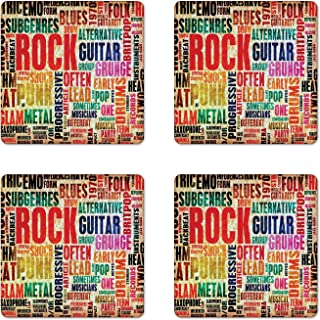 Ambesonne Music Coaster Set of 4, Retro Rock Roll Lettering Grunge Distressed Colors Back then Sound Music Theme, Square Hardboard Gloss Coasters, Standard Size, Red Orange