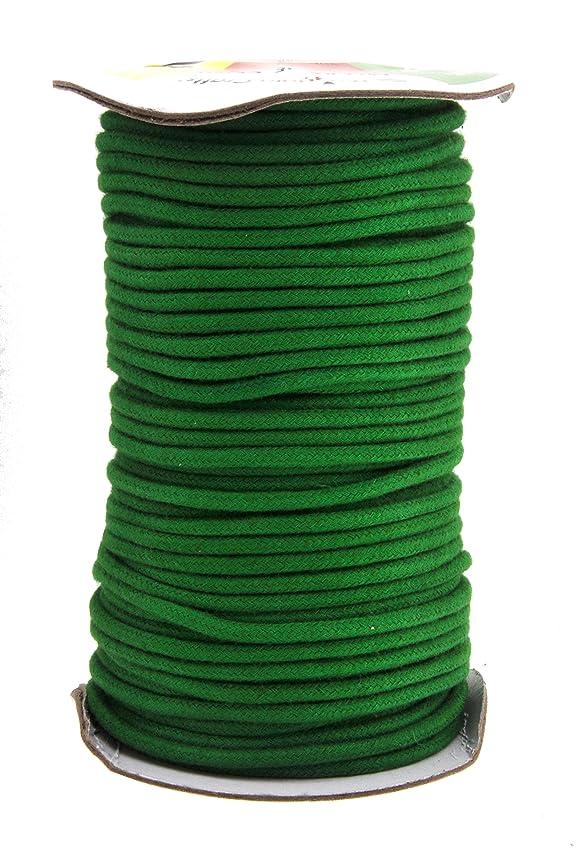 Mandala Crafts Soft Drawstring Replacement Rope Upholstery Crochet Macramé Cotton Welt Trim Piping Cord (Green, 3mm)