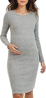 HELLO MIZ Women's Knit Ribbed Maternity Dress with Long...