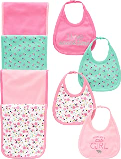 Simple Joys by Carter's Baby Girls' 8-Pack Burp Cloth and Bib Set