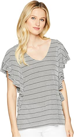 Stripe Ruffle Sleeve Scoop Neck Top with Open Hem