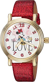 DISNEY Women's Minnie Mouse Analog-Quartz Watch with Leather-Synthetic Strap, red, 18 (Model: WDS000254)