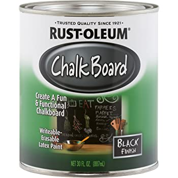 Rust-Oleum 206540 Specialty Chalkboard Brush-On Paint, 30 Oz, Flat Black