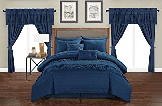 Chic Home Mykonos 20 Piece Comforter Set Striped Ruched Ruffled Embossed Bag Bedding, Queen, Navy