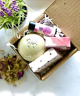 Spa Gift Set, with Deluxe Aromatherapy Bath Bombs, Travel Soap and Lip Balm, Special, Unique, Relaxing and Handmade Made in USA for Wife, Mom, Sister, Aunt and Friend, 100% Natural