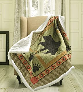 Duke Imports Virah Bella Collection - Phyllis Dobbs Bear and Paw Patchwork Quilted Sherpa Throw (Bear & Paw)